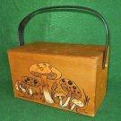 Enid Collins Bag Vintage 60s Wood Box Mushrooms Handbag Purse Big Top Handle