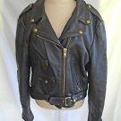 Kerr Leather Motorcycle Biker Jacket Black Leather Deadstock Vintage Belted  16