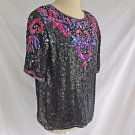 Sequin Vintage 70s New Deadstock with Tag Blouse Top Pearl Black Silk Pink PM