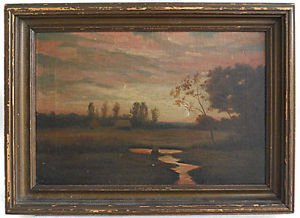 Antique Painting Naive Oil Pastoral Landscape Lonely Thatch Cottages Moody