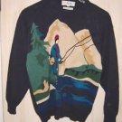 Fly Fishing Fisherman Cotton Sweater Pringle L Intarsia Vintage 70s Landscape