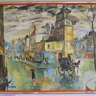 Vintage Painting Reproduction Paris M Salva Rain Day Street Scene Large Framed