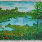 Folk Art Naive Landscape Vintage Painting Flowering Summer River Original Bain