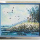 Cuban Vintage Painting Seascape Grassy Hill Cantelli Arrecifres de Cofinar Cuba