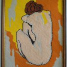 Vintage Needlepoint Female Nude Elegant Back View Chignon Framed Modernist Bold