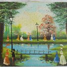 Vintage Painting Simon Victorian Ladies Landscape Park Lake Bridge Nostalgia