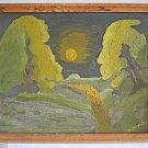 Vintage Impressionist Painting Forest Moonrise Landscape Haunting M Meyering