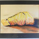 Vintage Modernist Abstract Original Drawing Back View Sleeping Male Bradford 81