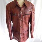 Vintage 70s Saint Arnaud Distressed Leather Safari Jacket Long Collar Paris