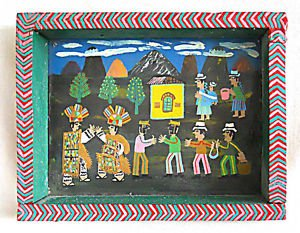 Folk Naive Vintage Painting on Leather Feather Head Dress Black Natives Trading