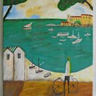 Vintage Modernist Original Naive Painting Med Port Village Fort Bicyclist Sea