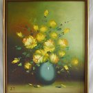 Vintage Painting Still Life Yellow Roses Blue Vase Regency Romantic Large JT