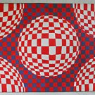 Original Op Art Painting Visual Play Square Spheres Red White Blue T Martins