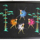 Whimsical Fireworks Exploding Dancers Vintage Painting Watercolor Night  J Kia