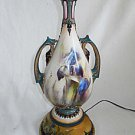 Hadley Lamp Vintage Antique Painted Urn Stunning Blue Iris Green Gold Pink