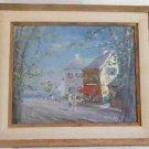 Vintage Impressionist 1964 Painting Fred Smith Animated Seaside Village Street