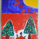Original Folk Outsider Painting Abstract Expressionism Christmas Trees Children