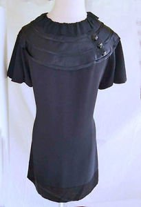 Deadstock with Tag ABS Collection Puff Sleeve LBD Little Black Dress 10 Vintage