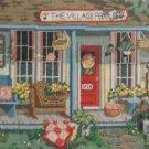 Folky Vintage Needlework Village Peddler Store Front Modernist Flowers Summer