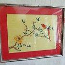 Vintage 50s Asian Oriental Silk Embroidery Needlework Bird in Flower Tree Framed