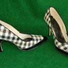 NOS Vintage 60 Gingham Pointy Pumps Black and White Check Patent Leather 6