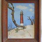 Folk Vntage Painting 1949 Jupiter Florida Light House Mid Century Paul de Lore
