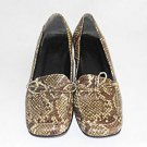 Snakeskin Chunky Heel Shoes Leather Vintage 60s Block Loafers Mocs Brogues 6