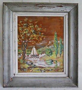 Vintage Painting Watercolor Primitive Naive Folk Sailboat Marine Cypress Trees