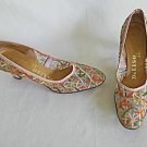 Vintage 60s Pumps Sheer Mesh Embroidered Pastels De Liso Pink Shoes 6.5M Leather