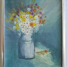 Folk Naive Original Painting Wild Flowers Still Life  Botanical Daisy Framed EP