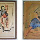 Vintage Moderne Painting VE Carrington Recto Verso Double Side Glamour Girl Deco