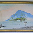 Tahiti Vintage Original Tropical Seascape Painting Mountain Island Polynesia