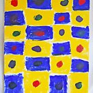 Abstract Expressionism Outsider Original Painting Blue Boxes on Yellow Big Dots