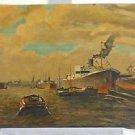 Art Deco Antique Oil Painting Marine 1930s Seaport Submarine Busy Harbor Fasold