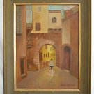 Italian Walled Old Village Antique Vintage Painting Woman Flower Veil  Strachan