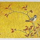 Folk Naive Ornithology Vintage Painting Bird on Branch Botanical Impasto T.H.