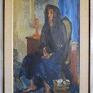 Vintage Painting Barefoot Vaquero Cowboy Widow Viola M Allen Malibu California