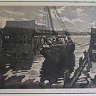 Vintage Joseph Margulies Signed Original Lithograph Abandoned Gloucester MASS