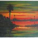 Florida Vintage Original Painting Everglades Sunset Swamp Highway Houghtan