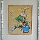 Vintage Japanese Watercolor Signed Painting Ceramics Botanical Framed  Cali