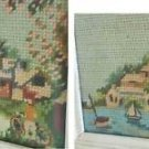 Folky Naive Needlepoint Pair New England Landscape Tiny Houses Boat Bicycle Man