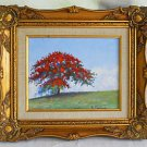 Folk Art Naive Vintage Painting Flamboyant Blooming Royal Poinciana Martinez