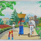 Vintage Folk Art Naive Painting Family Barefoot From the Back Walking Away Campo