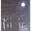 Vintage Folk Outsider Art Painting Full Moon over ...... Lake Goth Black Eerie