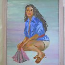 Fashion Portrait Folk Outsider Vintage Painting  Lovely Black Woman Bending Lily