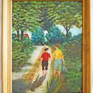 Folk Outsider Naive Primtive Painting Country Boys Walk Home From Fishing Owen