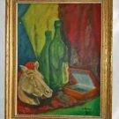 Antique Still Life Allegorical Oil Painting Horse Head Wine Bottle Alperin 1946