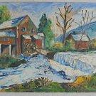Folk Art Vintage 60s Original Impasto Painting Watermill Country Landscape RML