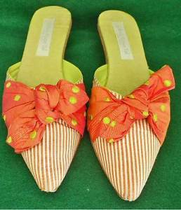 Mules Olivia Rose Tal Dotted Stripe Shoes Kitten Heel Wood Bow Coral Pointy 7