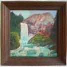Folk Art Naive Vintage Painting  J Silvester Vernal Falls Yosemite California 76